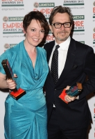 Coleman with the Best Actress Awards and Gary Oldman with the Jameson Best Actor Award
