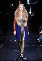 A model walks the runway at the Diane Von Furstenberg Fall 2013 fashion show during Mercedes-Benz Fashion Week at The Theatre at Lincoln Center on February 10, 2013 in New York City.