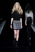 A model walks the runway at the Nicole Miller Fall 2013 fashion show during Mercedes-Benz Fashion Week at The Studio at Lincoln Center on February 8, 2013 in New York City.