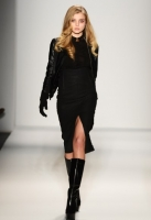 A model walks the runway at the Sergio Davila Fall 2013 fashion show during Mercedes-Benz Fashion Week at The Studio at Lincoln Center on February 7, 2013 in New York City.