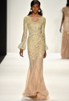 A model walks the runway at the Badgley Mischka fashion show during Mercedes-Benz Fashion Week Fall 2014 at The Theatre at Lincoln Center on February 11, 2014 in New York City.