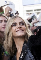 Cara Delevingne attends the European Premiere of 'Suicide Squad' at London's Leicester Square. 3 August 2016