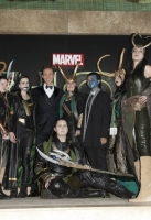 Actor Tom Hiddleston with 'Looki Loki' Competition Winners at the Global Premiere for thor the dark world