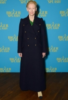 Tilda Swinton attends 'A Bigger Splash' photocall at Picturehouse Central on February 7, 2016 in London, England.
