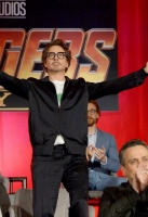 LOS ANGELES, CA - APRIL 22:  (L-R) President of Marvel Studios and Producer Kevin Feige, actors Josh Brolin, Mark Ruffalo, Robert Downey Jr., and Tom Hiddleston, director Joe Russo, and actors Zoe Saldana and Sebastian Stan attend the Global Press Conference at the Avengers: Infinity War Press Junket in Los Angeles, CA April 22nd, 2018  (Photo by Charley Gallay/Getty Images for Disney) *** Local Caption *** Kevin Feige; Josh Brolin; Mark Ruffalo; Robert Downey Jr.; Tom Hiddleston; Zoe Saldana; Joe Russo; Sebastian Stan
