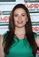 Hayley Atwell pose in the press room during the 2012 Jameson Empire Awards
