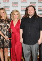 Cast and crew of Best Horror winner 'The Kill List' including Claire Jones (2L), director Ben Wheatley (2R) and MyAnna Buring (R) during the 2012 Jameson Empire Awards