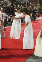 """attends the red carpet for the European premiere for """"Pride And Prejudice And Zombies"""" on at Vue West End on February 1, 2016 in London, England."""